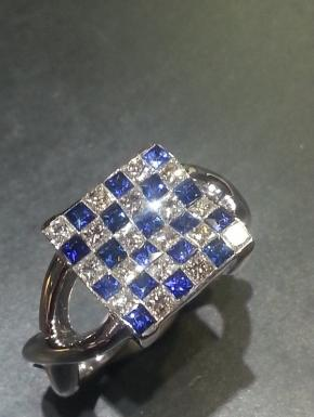 checkerboard ring sapphires and diamonds