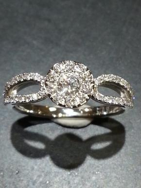 Double shank pave ring
