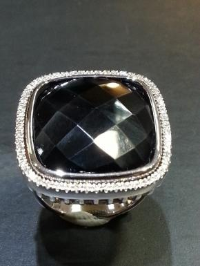black agate and diamond ring