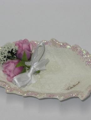 ceramic bowl with applied flowers