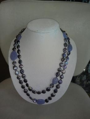 long necklace freshwater pearls and chalcedony