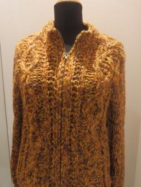 cardigan tweed giallo e marrone